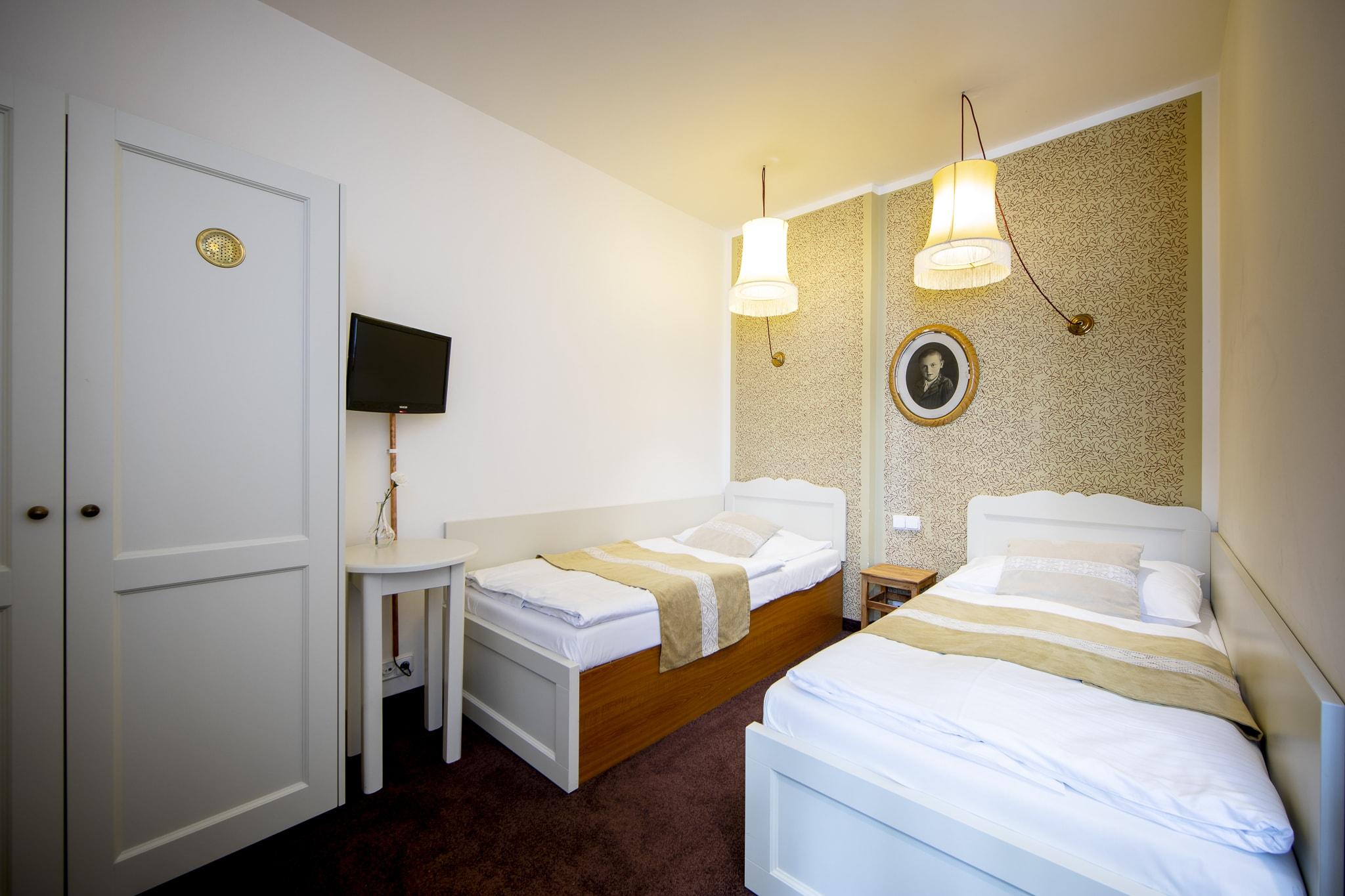Amadeus Hotel bedroom two single beds
